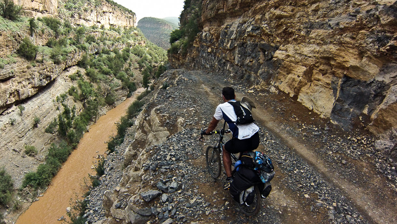 Biker on a Atlas cycling trip